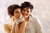 foto of gay couple  - women couple happy attractive - JPG