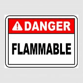 Plate: danger. Flammable. Sign: danger. Flammable On A Gray Background poster