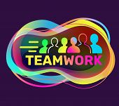Vector Creative Illustration Of Teamwork Word Typography And Group Of People On Dark Background. Wor poster
