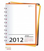 Simple 2012 calendar notebook ,January. All elements are layered separately in vector file. Easy editable.