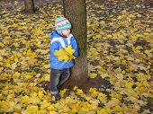 Child Stand In Autumn Leaves poster
