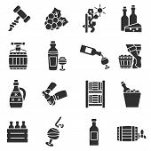 Wine, Monochrome Icons Set. Storing, Cooking, And Drinking Wines. Isolated Vector Monochrome Illustr poster