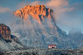 Locatelli Refuge in the Dolomites, Italy