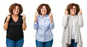 Collage of middle age senior woman over white isolated background smiling crossing fingers with hope poster