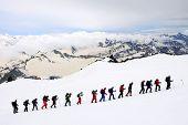 Alpinists climbing Elbrus