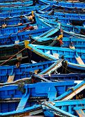 Blue fishing boats in Essaouira, Morocco, Africa