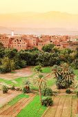 Moroccan kasbah in sunset light, Africa