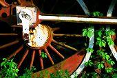 Steam locomotive wheel detail