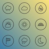 Climate Icons Line Style Set With Flag, Overcast, Arc And Other Rain Elements. Isolated  Illustratio poster