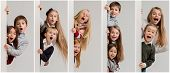 Banner With A Surprised Children Peeking At The Edge With Copyspace. The Portrait Of Cute Little Kid poster