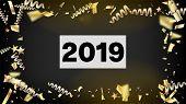 2019 Gold Explosion, Stars, Streamers, Tinsel Burst. Horizontal Lights Explosion Background. Cool Pr poster