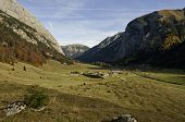 Autumn View Over Eng Alm And Ahornboden
