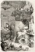 Alchemist laboratory old illustration. By unidentified author, published on L'Illustration, Journal