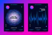 Electronic Sound Flyer. Music Equalizer Vector Design. Amplitude Of Distorted Wave Lines. Abstract P poster