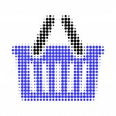 Shopping Basket Halftone Dotted Icon. Halftone Pattern Contains Round Points. Vector Illustration Of poster