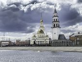 Old Russian Cathedral In The City And Nevyansk Leaning Tower. Famous Nevyansk Tower And Spaso-preobr poster