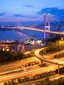 It is beautiful night scenes of Tsing Ma Bridge in Hong Kong.