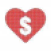 Love Price Halftone Dotted Icon. Halftone Array Contains Circle Dots. Vector Illustration Of Love Pr poster