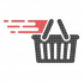 Shopping Basket Halftone Dotted Icon With Fast Speed Effect. Vector Illustration Of Shopping Basket  poster