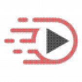 Play Media Halftone Dotted Icon With Fast Speed Effect. Vector Illustration Of Play Media Designed F poster