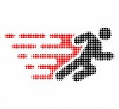 Running Man Halftone Dotted Icon With Fast Speed Effect. Vector Illustration Of Running Man Designed poster