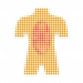 Human Anatomy Halftone Dotted Icon. Halftone Array Contains Round Points. Vector Illustration Of Hum poster