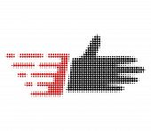 Hand Palm Halftone Dotted Icon With Fast Speed Effect. Vector Illustration Of Hand Palm Designed For poster
