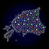 Glossy Polygonal Mesh Map Of Estonia With Glare Effect. Vector Carcass Map Of Estonia With Glowing M poster