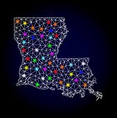 Glossy Polygonal Mesh Map Of Louisiana State With Glare Effect. Vector Carcass Map Of Louisiana Stat poster