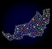 Glossy Polygonal Mesh Map Of Malaysian Sarawak With Glare Effect. Vector Carcass Map Of Malaysian Sa poster