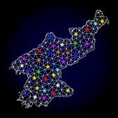 Glossy Polygonal Mesh Map Of North Korea With Glare Effect. Vector Carcass Map Of North Korea With G poster