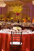 stock photo of wedding table decor  - Table setting at a luxury wedding reception - JPG