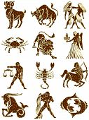 picture of zodiac sign  - golden zodiac signs with shining stars isolated - JPG