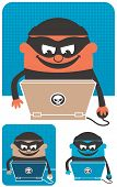 image of no spamming  - Criminal using computer to commit crime. The illustration is in 3 versions.