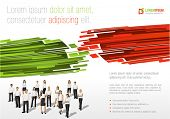 Red and green template for advertising brochure with business people