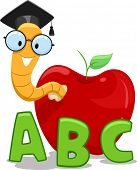 stock photo of bookworm  - Illustration of a Nerdy Worm Wearing a Graduation Cap Crawling Out of an Apple - JPG