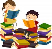 Illustration of Stick Kids Reading Books from Piles of Reading Materials