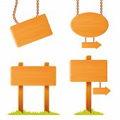 illustrations of variously shaped wooden sign board