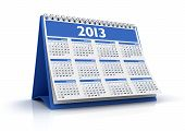 image of august calendar  - 3D desktop calendar 2013 in white background - JPG