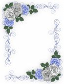 stock photo of white roses  - 3D Illustrated Blue and white roses design element for Valentine wedding invitation background border or frame with copy space - JPG