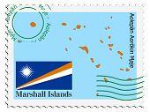 selo com o mapa e a bandeira das Ilhas Marshal