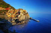 Cinque Terre National Park, Manarola town at sunset. Italy