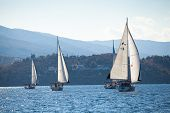 SARONIC GULF,  GREECE - SEPTEMBER 23: Boats Competitors During of sailing regatta