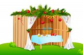 stock photo of tabernacle  - vector illustration of decorated sukkah for celebrating Sukkot - JPG