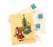 Gdr - Circa 1956: Greeting Christmas Card Printed In The East Germany (gdr) Shows Santa Claus And Ch