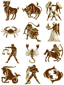 image of zodiac sign  - golden zodiac signs with shining stars isolated - JPG