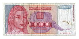 stock photo of billion  - One billion dinar on a white background - JPG