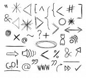 Miscellaneous Doodle Symbols, Signs, Icons and Keystrokes, including quotation, exclamation and question marks, arrows, brackets, web and interface symbols