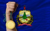 Gold Medal For Sport And  Flag Of American State Of Vermont