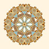 Circle lace steampunk ornament, round ornamental geometric pattern